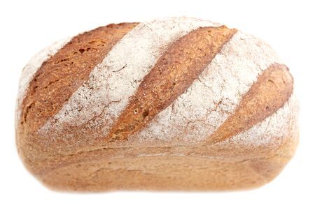 Fresh rosy bread isolated on a white background.