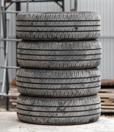 Four wheels of summer tires from a car.