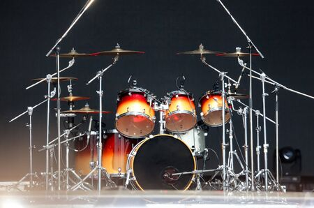 Drum set on stage before the concert.