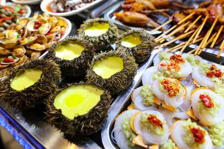 Sea urchins cooked according to a special recipe. A dish of Chinese cuisine.