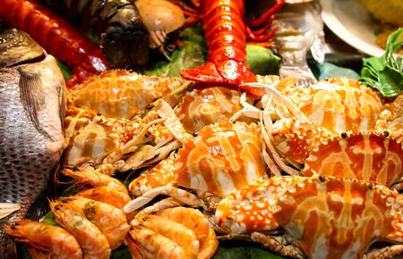 Sea crab cooked according to a special recipe. A dish of Chinese cuisine. Standard-Bild