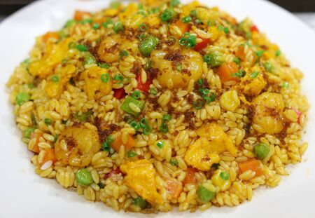 Rice cooked according to a special recipe. A dish of Chinese cuisine.