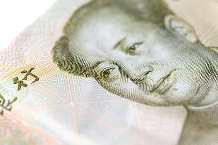 Portrait of Mao Zedong on China Paper Currency. Macro