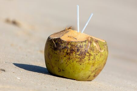 Coconut with a straw lies on a sandy beach near the sea.