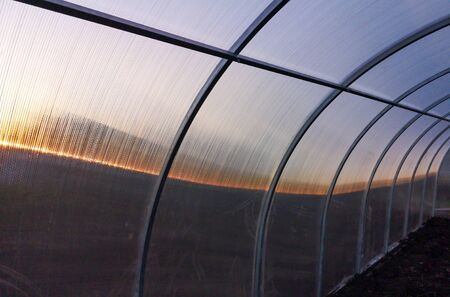 Frame for the greenhouse at sunset in the garden.