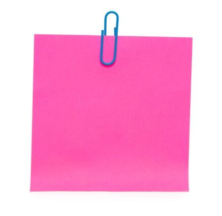 Pink paper with paper clips on a white background. For your text