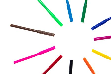 Colored felt-tip pens on a white background. The pencils Stockfoto