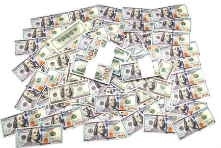 One hundred dollar bills on a white background.