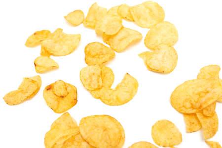 Potato chips isolated on a white background. Close-up Banco de Imagens - 167321684