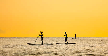 People on a board with a paddle float on the sea at sunset.