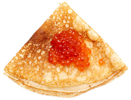 Pancake with red caviar on a white background.
