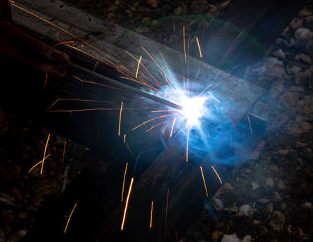sparks from metal welding at a construction site. Banco de Imagens - 167321316