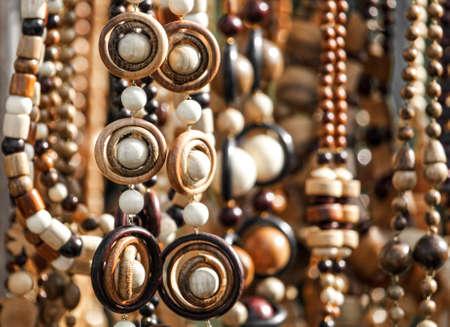 Wooden bead bracelets in the market. Banco de Imagens - 167320891