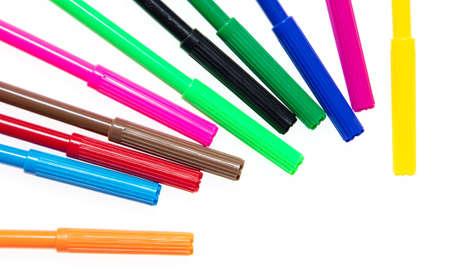 Colored felt-tip pens on a white background. The pencils Banco de Imagens