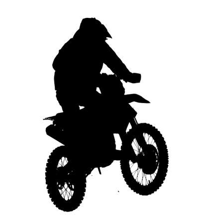 Silhouette of a man on a motorcycle isolated on white background.