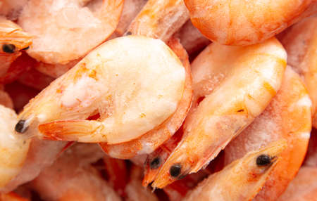 Frozen red shrimps as background. Close-up