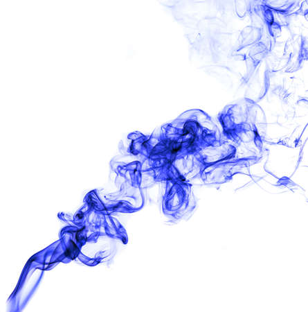 Blue smoke on a white background. Abstraction Banco de Imagens