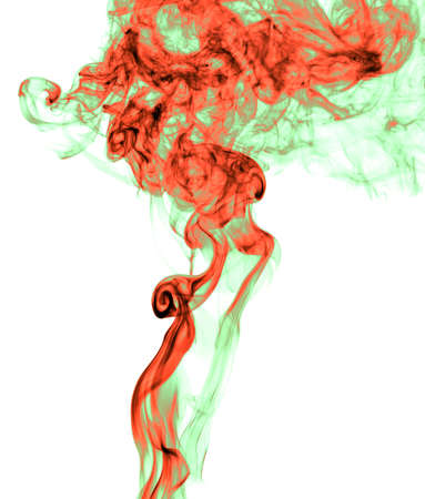 Red and green smoke on a white background. Abstraction Banco de Imagens