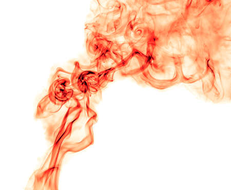 Red smoke on a white background. Abstraction
