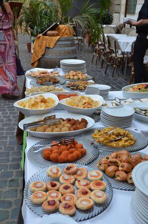 Italian Food Buffet Banco de Imagens