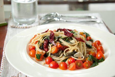 durum: Spaghetti chilli with tomatoes Stock Photo