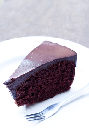 fudge: Chocolate cake on white plate and folk