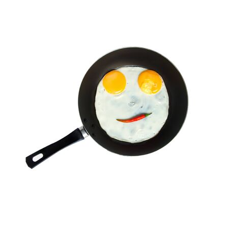 breakfast smiley face: Smiley egg on a pan