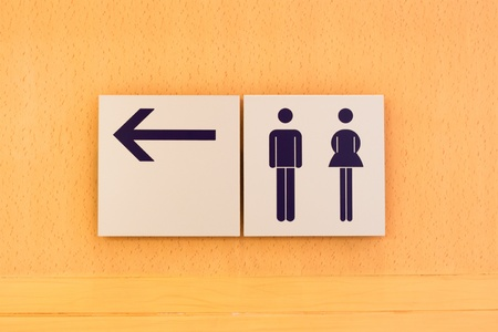Toilet sign and direction on wooden background photo