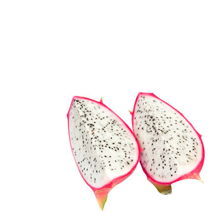 2 pieces of dragon fruit on an isolated photo