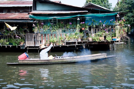 mercado flotante de Bangkok, Tailandia Foto de archivo