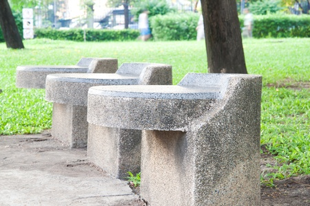 stone benches in a park, Thailand