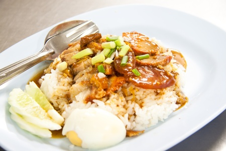 BBQ Pork and Crispy Pork with Rice. Closeup Useful as background for design-works (Thai food) photo