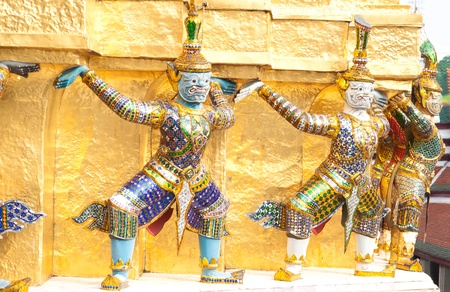 Demon guardian at wat phra kaew, grand palace in bangkok, Thailand photo