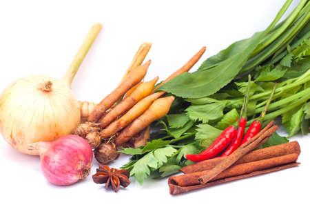 Thai vegetables   herbs on white background