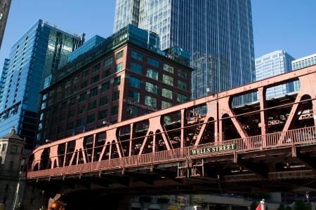 Antiguo cruzando el puente del r�o de Chicago