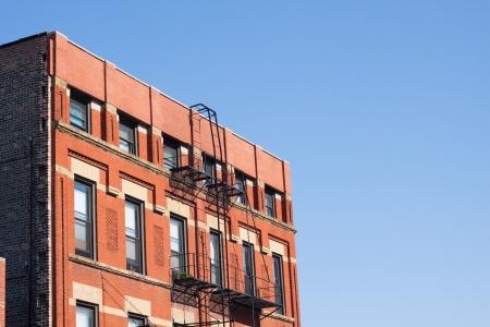 Arquitectura de Tenement, Chinatown, Chicago, EE.UU. Foto de archivo
