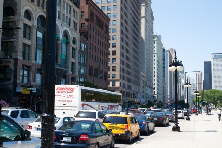 Heavy traffic in downtown, Chicago