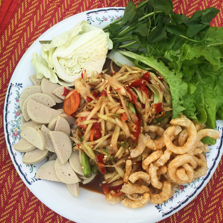 somtum: Famous Thai traditional food, papaya salad Somtum in Thai