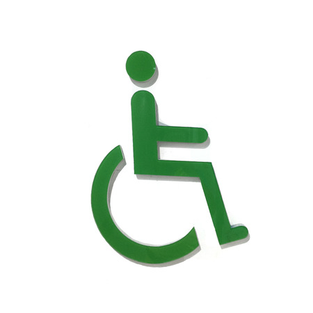 public figure: Sign of public toilets WC restroom for handicapped in green color