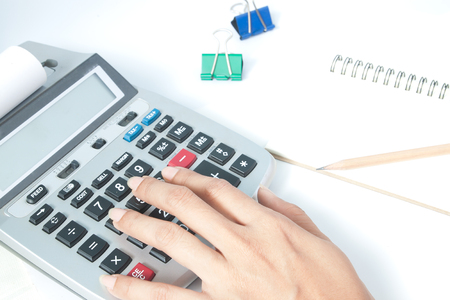 woman's hand: Accounting concept with womans hand