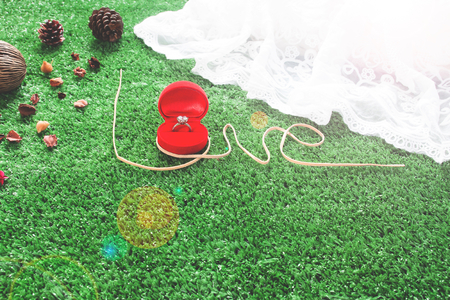 Caption word love on grasses with engagement ring in red box. Love inscription from rope. Love and Valentine concept