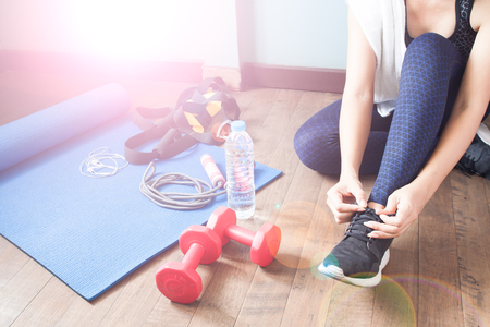 healthy sport: Active woman in sport fitness, Healthy lifestyle concept Stock Photo