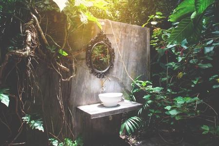 Toilettes anciennes dans un jardin paysager ou une forêt tropicale Banque d'images - 79927488