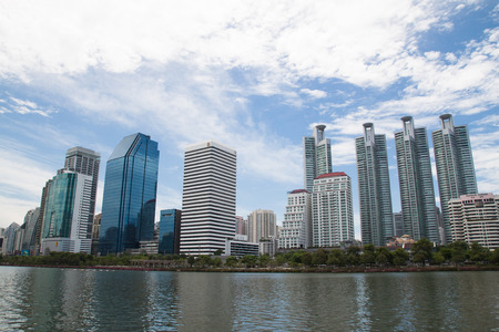 BANGKOK, THAILAND - JUNE 13: Benchakitti Park on June 13, 2017 in Bangkok, Lake view with cityscape in the most famous of public park in middle of Bangkok city Editöryel