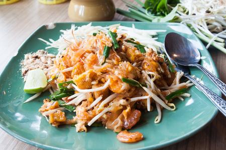 Padthai, Popular Thai style noodles, Thai noodles with shrimps Stock Photo