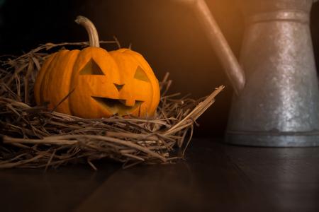 Halloween still life with pumpkins on wooden floor Stock Photo