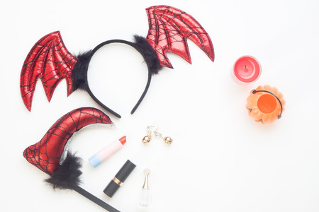 Creative flat lay of halloween concept on white background Stock Photo
