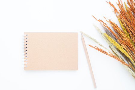 Creative flat lay of blank notebook and pencil on white background, Autumn lifestyle