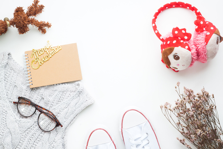 Creative flat lay of Winter and Christmas concept on white background