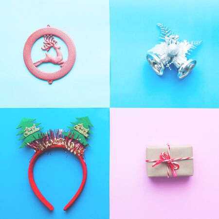Christmas banner design with ornaments and gift box on pastel color background, Vintage filter, Flat lay